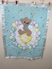 Vintage Precious Moments Bear Nursery Decorative Handmade Baby Blanket 33X42.5