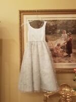 Girls Baby Blue Satin and Embroidered Organza Dress Size 8