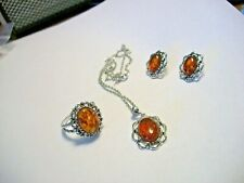 Camrose & Kross  JACQUELINE KENNEDY REPRODUCTION AMBER RING, NECKLACE, EARRINGS