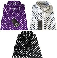 Men's Polka Dot Purple Black White Long Sleeved Button Down Collar Relco Shirt