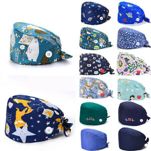 Surgical Scrub Cap Doctor Nurse Bouffant Hat Adjustable Head Cover with Buttons#