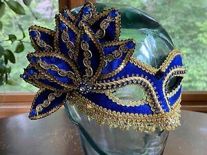 Masquerade Ball Mask Gold & Blue Mardi Gras Half Mask Halloween Costume