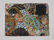 kantha Quilt Black Paisley Indian Cotton Handmade Bedspread Twin Gudari Bed