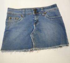 Hydraulic Womens Jean Denim Mini Skirt Juniors Size 5/6 Raw Hem Medium Wash