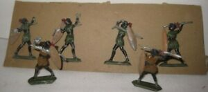 6 Old Vintage Lead Jungle Black Natives w/ Shields & Weapons