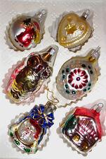 Vintage 6 Romanian & German Christmas Mercury Commodore Glass Ornaments c.1970's