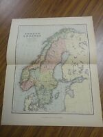 Nice color map of Sweden & Norway.  Printed 1892 by Chambers.