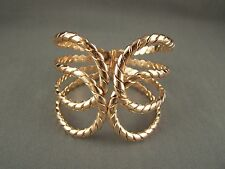 "Gold tone metal rope twist hinged bangle cuff 2.5"" wide bracelet 8"" around"