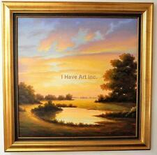 "Sunset-Landscape-Framed Oil Painting-Art-Valdivia-""Bello Atardecer""-Signed w/COA"