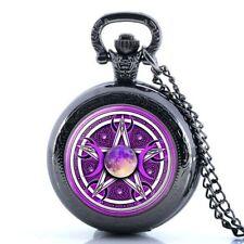Purple Pentagram Celtic Triple Moon Mini Black Pocket Watch Pendant Chain - Gift