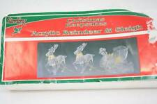 Vintage Sterling Clear Acrylic Reindeer & Sleigh Christmas Keepsakes Decor