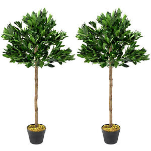 Woodside Artificial Topiary Bay Leaf Tree 4ft Indoor Outdoor Plant (pack of 2)