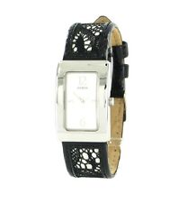 NEW  GUESS BLACK LACE OVERYLAY LEATHER WOMEN WATERPRO WATCH-G95355L