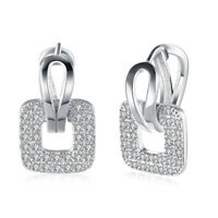 Pave 18K White Gold Plated Pave Square Earring made with Swarovski Crystals