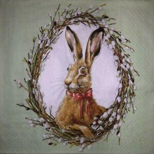 4 x Single Paper Napkins - Decoupage - 3 Ply - Craft - Bunny Portrait Easter B33