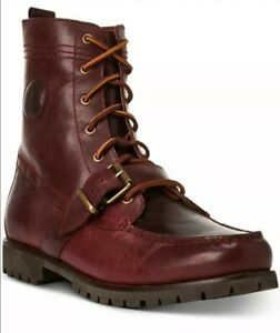 POLO RALPH LAUREN Mens sz 10 OxBlood RANGER LEATHER BOOTS burgundy shoes red