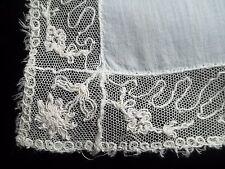 Vintage Netting Lace Edge Hankie Wedding Handkerchief White Hanky 216