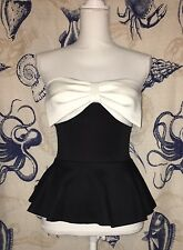 Charlotte Russe Woman's Black and White Cocktail Bustier Top Ladies Size S (B41)