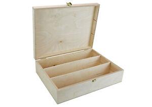 Holzbox mit 3 Fächer (344 x 276 x 96 mm L/B/H Außen) - Kiste - Box - Truhe