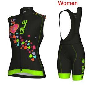 Women Cycling Jersey Bike Sport Clothing Sleeveless Bicycle shirt bib shorts set