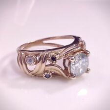 Moissanite Rose Gold Over Engagement Ring Sterling Silver Round Ice Blue 6.5 mm