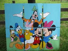"Mickey Mouse & Minnie, Donald & Daisy, Pluto & Goofy Original Painting 49"" x 59"""