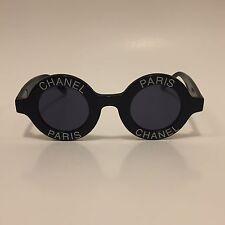 RARE ICONIC VINTAGE CHANEL PARIS LOGO SUNGLASSES BLACK ROUND 01945 10601