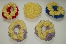 NEW LOT OF 5 HANDMADE CROCHET HAIR SCRUNCHIES SET YELLOW LAVENDER RED BLUE