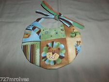 Handmade Baby Bib w/Multi Color & Jungle Creatures Unisex Theme - 0-3 mos