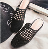 Womens Hollow Out Oxford Style Sandals Summer Slipper Slip On Flat Heel Shoes