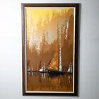 Mid Century Modern Original Art Guyot Boat Sailboat Brown Oil On Board Signed NM