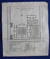 Original antique print ANCIENT GREECE, GRECIAN HOUSE PLAN, Cook, Bocage, 1796