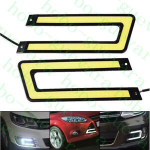2X Car SUV White U-COB LED Daylight Bulb DRL LAMP Daytime Running Light diy