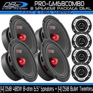 """4 DS18 PRO-GM6B 6.5"""" Midrange Car Speakers 4 PRO-TWX1 Aluminum Super Tweeters"""