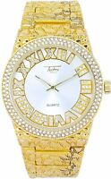 Iced Men Gold Watch Bling Rapper Simulate Diamond Nugget Band Hip Luxury Style