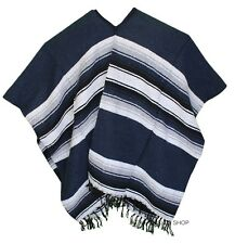 EXTRA WIDE Mexican PONCHO - NAVY BLUE - ONE SIZE FITS ALL Gaban BIG AND TALL