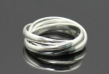 "Sterling Silver Entwined Rolling Ring Size 7 Highly Polished "" Hope Faith Love """