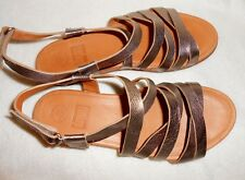 FITFLOP LUMY PEWTER LEATHER GLADIATOR SANDALS/THONG, WALK IN COMFORT, SZ 10!