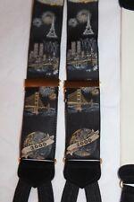 TRAFALGAR 2000 Y2K Sydney Paris NYC Pyramids Taj Mahal Silk Suspenders in Black