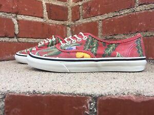Van Doren Red Hawaiian Floral Print Canvas Sneaker Shoe Men Size 5 Women 6.5