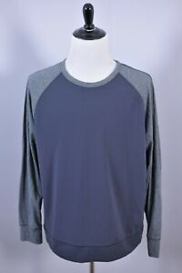 Lululemon Raglan Long Sleeve 2-Tone Crew Pullover Shirt Grey/Black Men's 2XL XXL