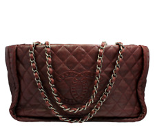 2011 Chanel Classic Stitch Logo Quilted Leather Burgundy Handbag Purse