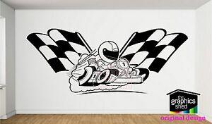 go kart wall sticker karting decal boys  design vinyl