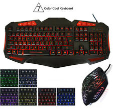 LED Gaming Keyboard with 7 Adjustable Colorful Backlight Keyboard and Mouse Mice