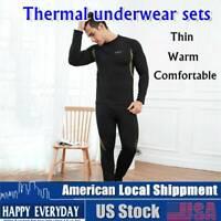 Men's Thermal Underwear Sets Winter Long Johns Sweat Top Bottom Quick Drying Set