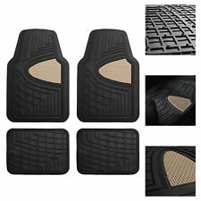 Car Floor Mats for Auto Car SUV 4pc Set All Weather Semi Custom Fit Beige Black