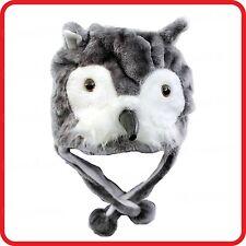 GREY OWL BIRD ANIMAL CARTOON PLUSH FLUFFY HOODED HAT CAP BEANIE EARMUFF