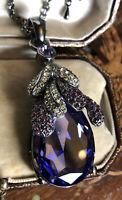 Vintage Signed 1980s Silver Plated Purple Flower Swarovski Crystal Necklace