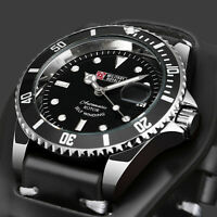 Military Royale Mens Watch Automatic Silver Case Black Leather Gloss Date Army
