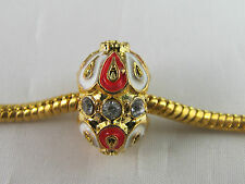 EXQUISITE XXL GOLD/ORANGE FABERGE EGG CHARM BEAD EUROPEAN STYLE CHARM BRACELETS
